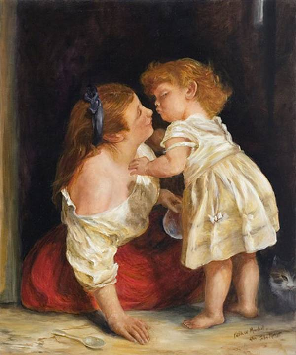 Mother And Child Art Print featuring the print The Kiss After John Morgan 1800 by Kathleen Marshall McConnell