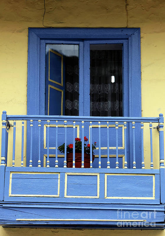 Blue Balcony In Sopo Art Print featuring the photograph Blue Balcony In Sopo by John Rizzuto