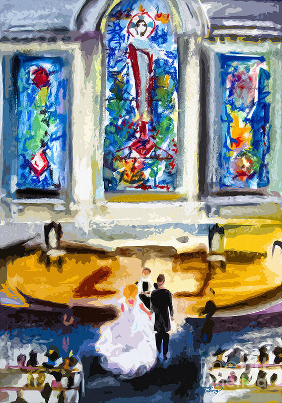 South Carolina Art Print featuring the painting Wedding Day At Second Presbyterian Church Charleston Sc by Ginette Callaway