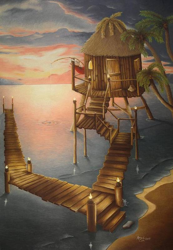 Tiki Art Print featuring the pastel Tortugan Riviera by Amanda Clark