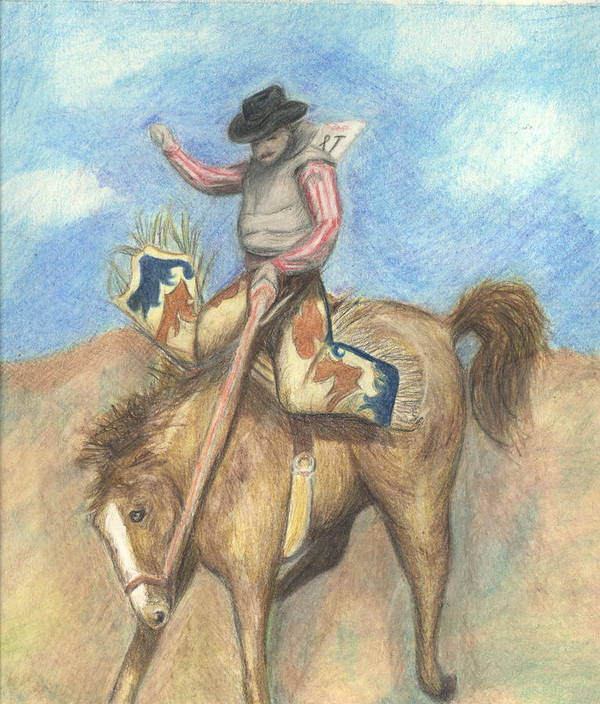 Rodeo Art Print featuring the drawing Rough Rider by Jennifer Skalecke