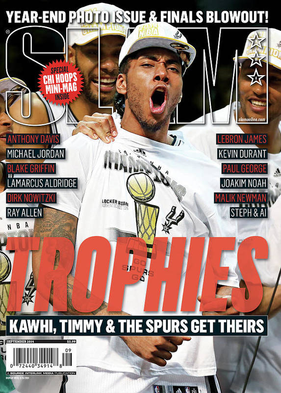 Kawhi Leonard Art Print featuring the photograph Trophies: Kawhi, Timmy & The Spurs Get Theirs SLAM Cover by Getty Images