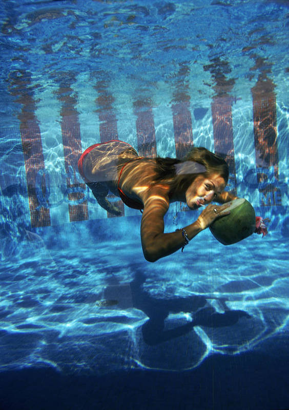 Underwater Art Print featuring the photograph Underwater Drink by Slim Aarons