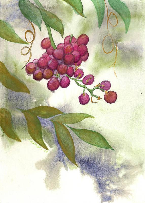 Rick Huotari Art Print featuring the painting Grapes Divine by Rick Huotari