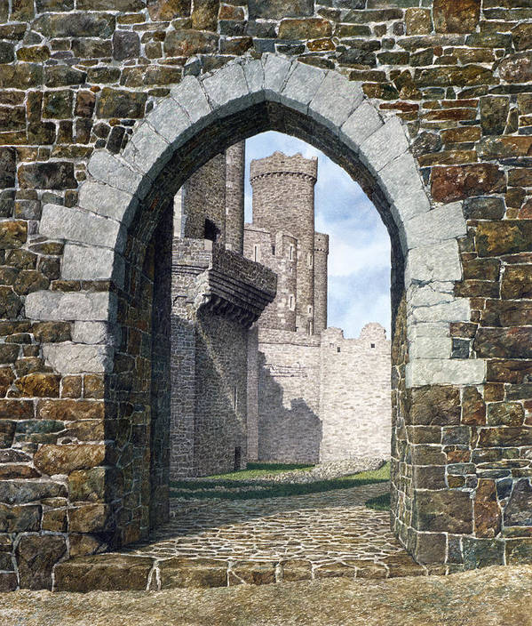 Landscape Art Print featuring the painting Conwy Gate by Tom Wooldridge