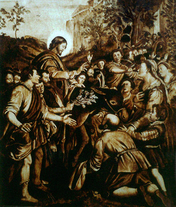 Dino Muradian Art Print featuring the pyrography Entering Into Jerusalem by Dino Muradian
