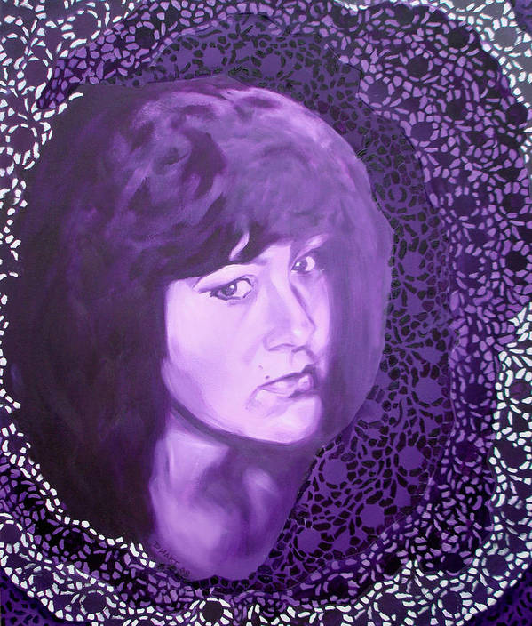 Portrait Art Print featuring the painting Purple And Lace by Davinia Hart