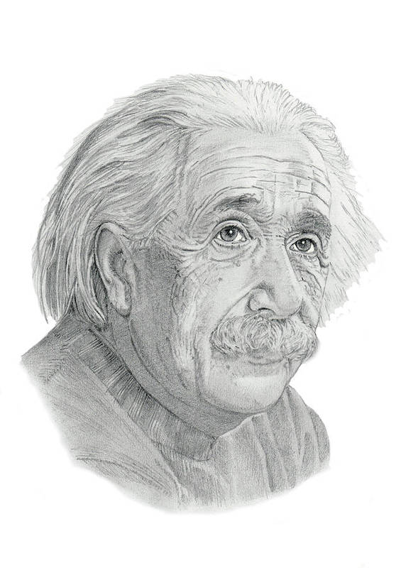 Pencil Art Print featuring the drawing Albert Einstein by Chris Greenwood
