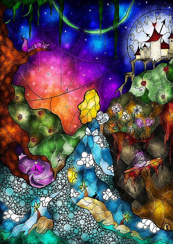 Alice In Wonderland Art Print featuring the digital art Alice's Wonderland by Mandie Manzano