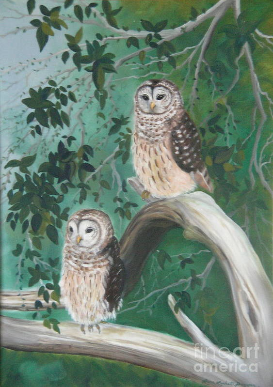 Owls Art Print featuring the painting Night Owls by Lora Duguay