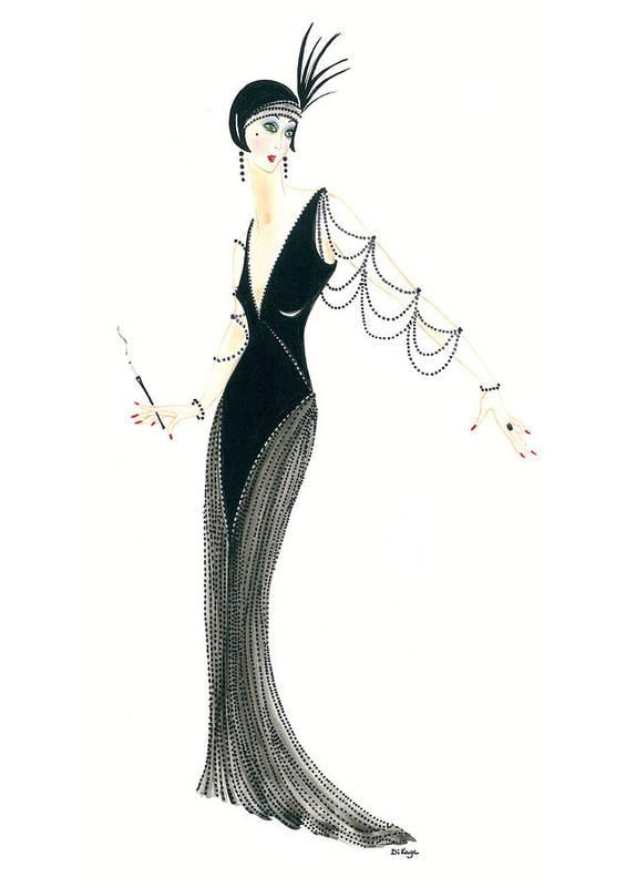 Art Deco Lady Josephine Art Print By Di Kaye