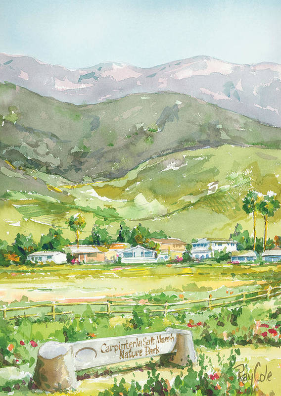Nature Art Print featuring the painting Carpinteria Salt Marsh Nature Park by Ray Cole