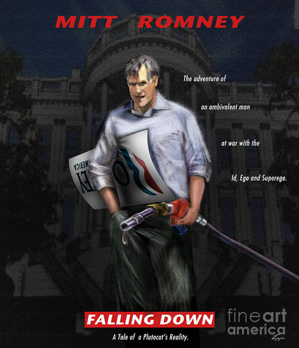 Mitt Romney Art Print featuring the painting Falling Down by Reggie Duffie