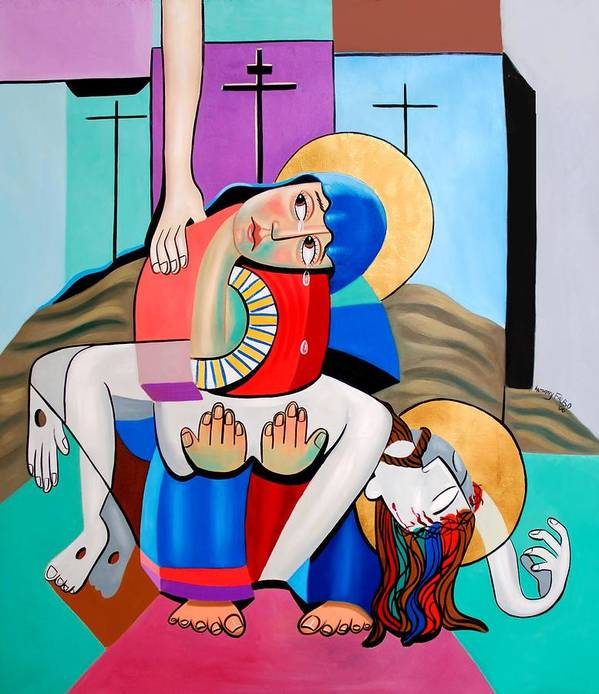 Jesus Mother Mary God Holy Spirit The Cross Crucifixion Lord King Of Kings Cubestraction Cubism Cubist Expressionism Fine Art Canvas Print Poster Original Painting Anthony Falbo Falboart Christian Art Art Print featuring the painting Thy Will Be Done by Anthony Falbo