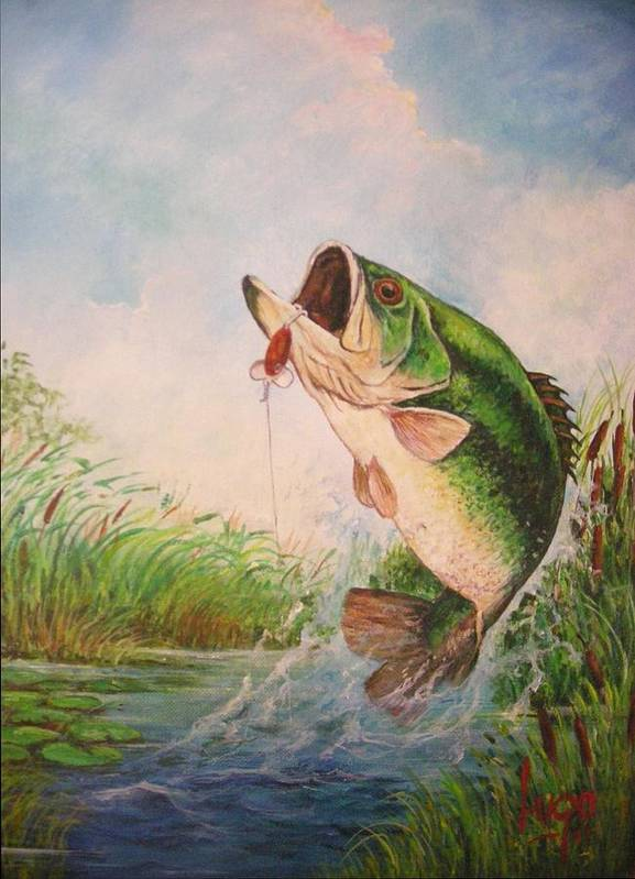 Largemouth Art Print featuring the painting Largemouth Bass by Jose Lugo