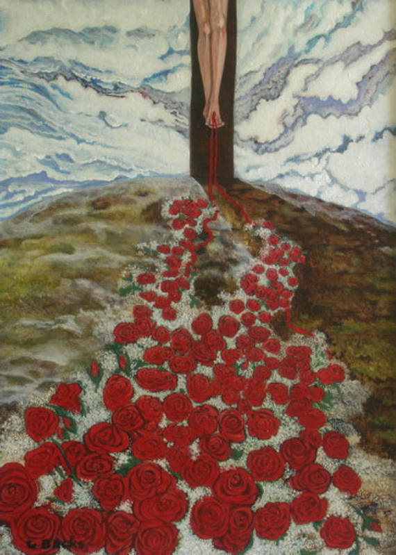 Figurative Art Print featuring the painting Roses by Georgette Backs