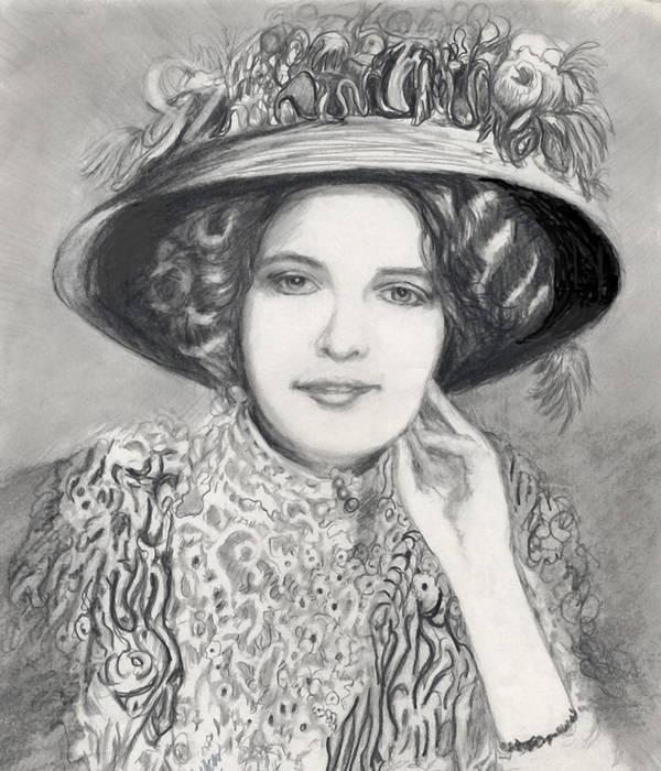 Maud Victorian Dressed Up Smile Woman Art Print featuring the print Maud - In Her Finery by Carliss Mora