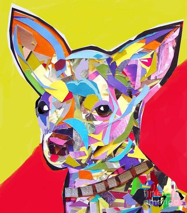Chihuahua Art Print featuring the digital art Chewy by Julie Hiskett