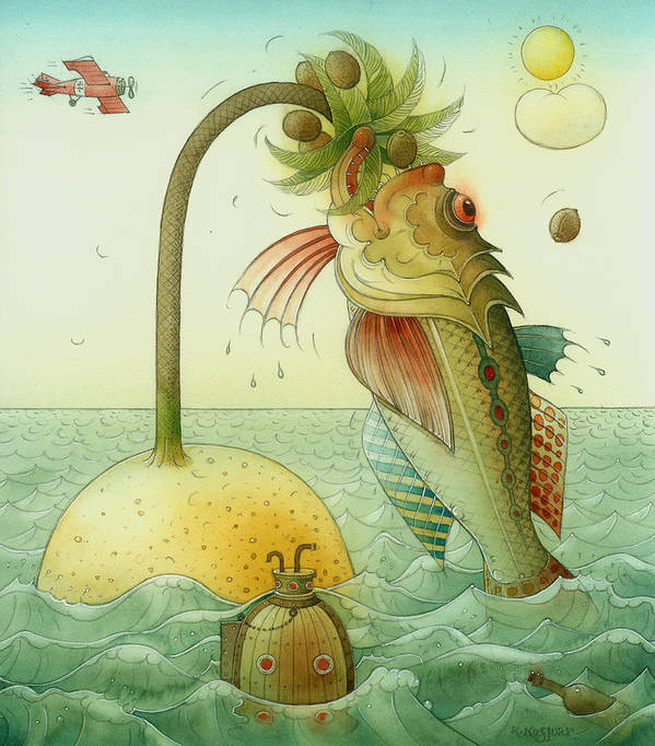 Fish Sea Landscape Art Print featuring the painting Fish by Kestutis Kasparavicius