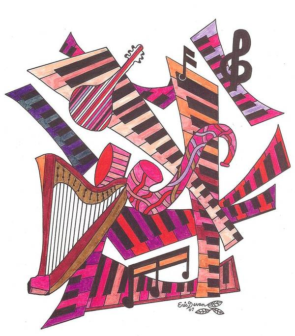 Music Art Print featuring the drawing Symphony by Eric Devan