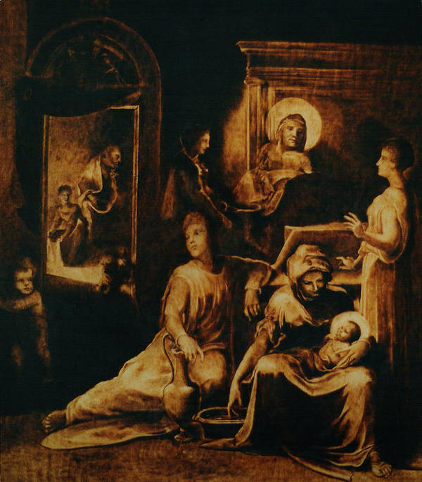 Dino Muradian Art Print featuring the pyrography The Birth Of The Virgin by Dino Muradian