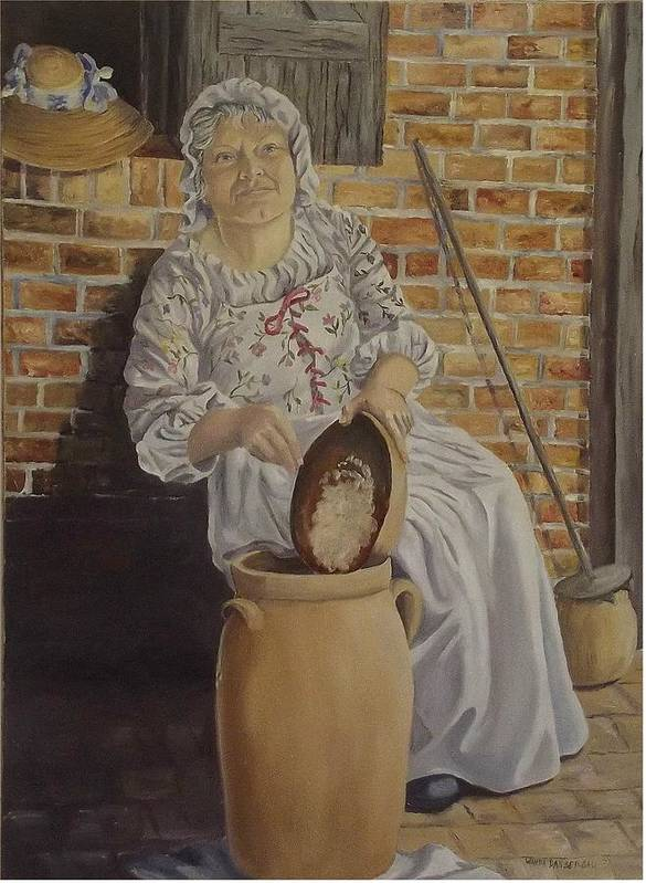 Historic Art Print featuring the painting Churning Butter by Wanda Dansereau