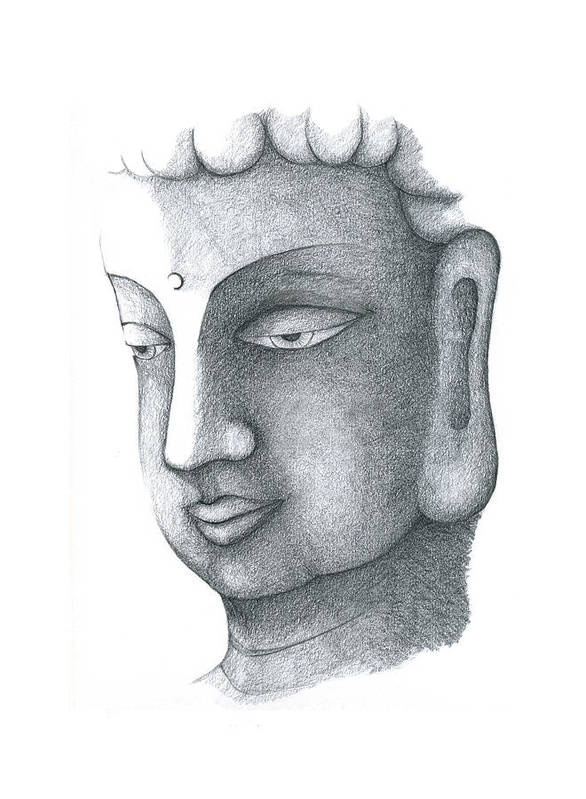 Buddha Art Print featuring the drawing Stillness by Keiko Katsuta