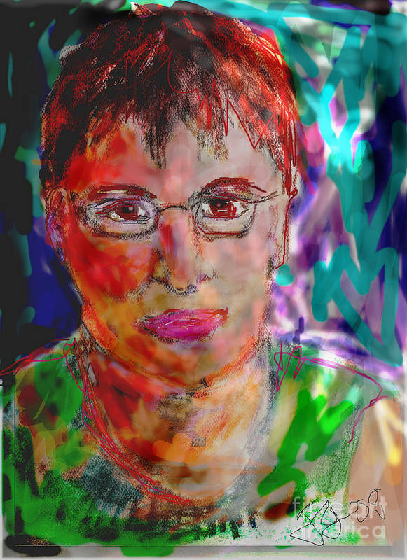 Self Portrait Art Print featuring the mixed media Self Portrait by Joyce Goldin