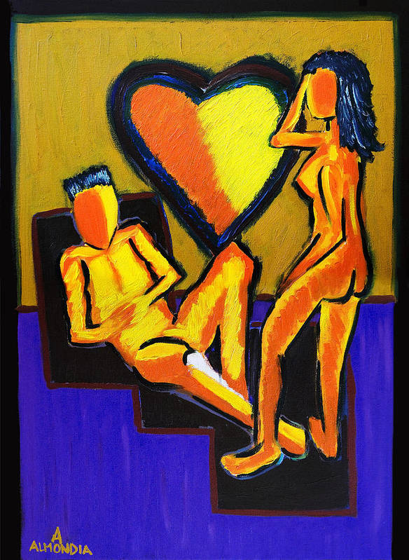 Relationships Art Print featuring the painting The Fire Between Us by Albert Almondia
