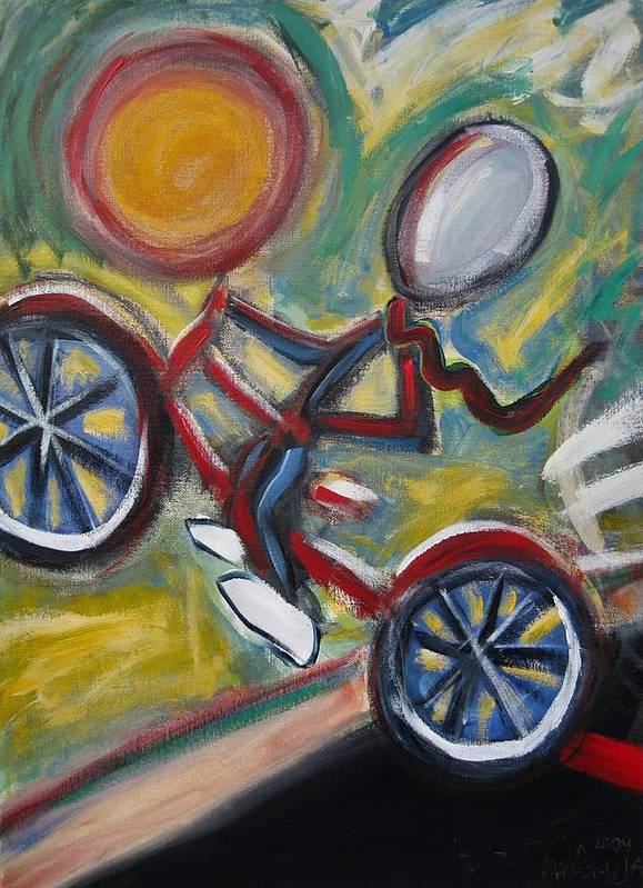 Boy Art Print featuring the painting Boy On A Bike by Albert Almondia
