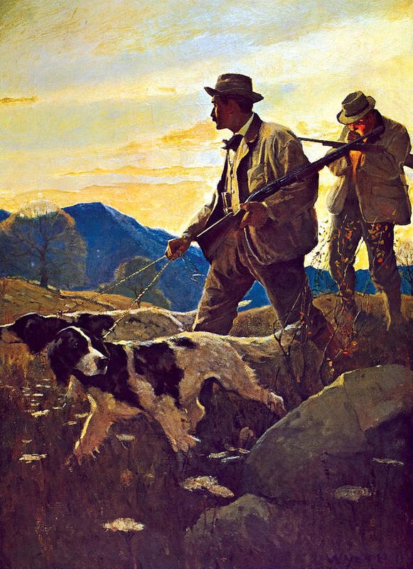 Dogs Art Print featuring the painting Dawn Of The Open Season by N C Wyeth