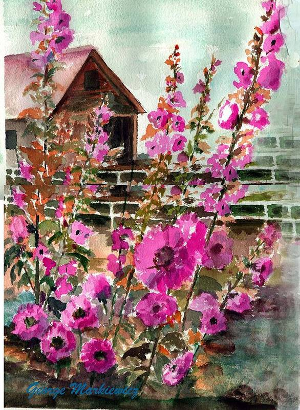 Hollyhocks And Bard Art Print featuring the print Hollyhocks And Barn by George Markiewicz