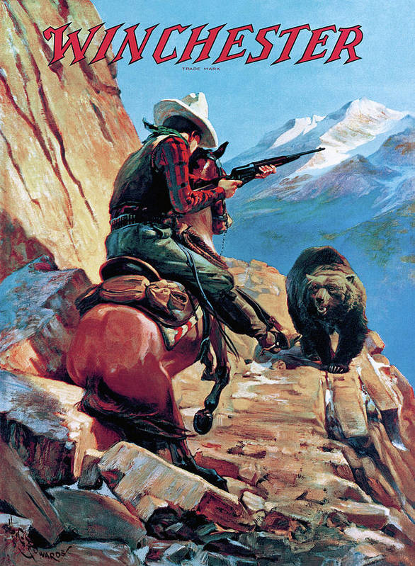 Cowboy Art Print featuring the painting Horseman And Bear by H G Edwards
