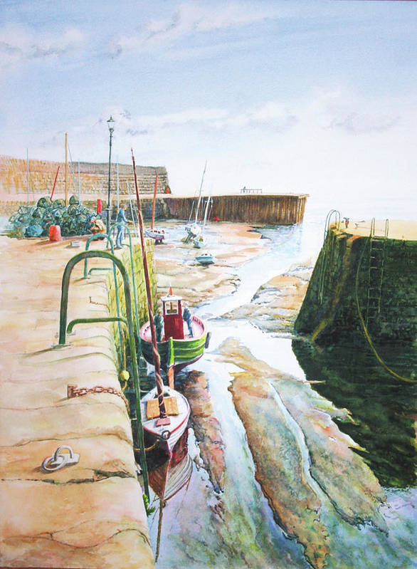 Scottish Landscape Art Print featuring the painting Low Tide Dysart Harbour by John Bonington