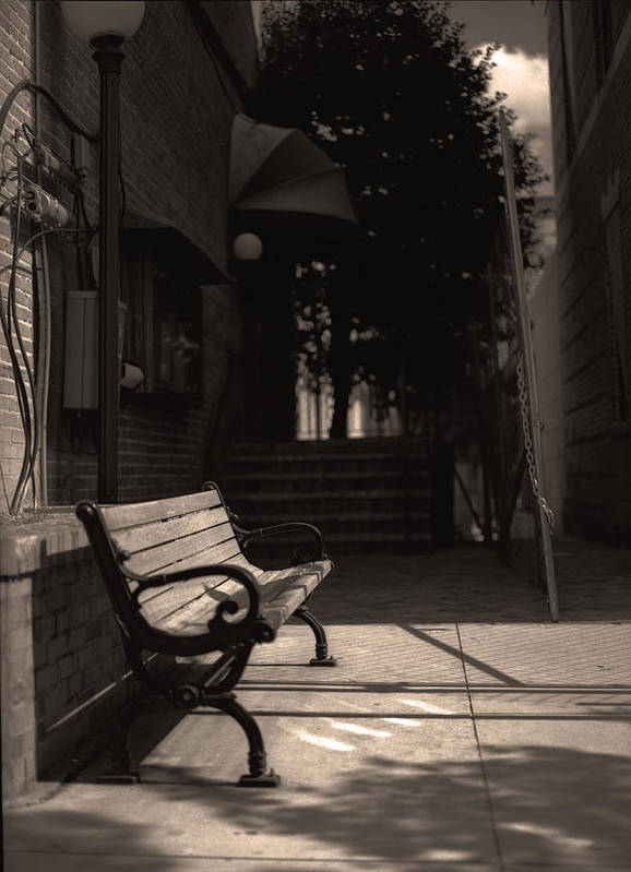 Bench Art Print featuring the photograph The Alleyway by Ayesha Lakes