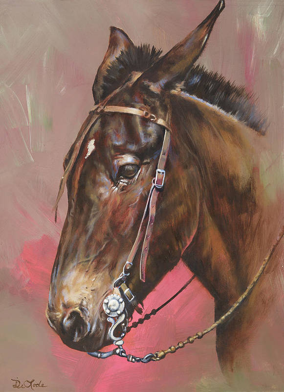 Mules Art Print featuring the painting The Spanish Mule by Mia DeLode