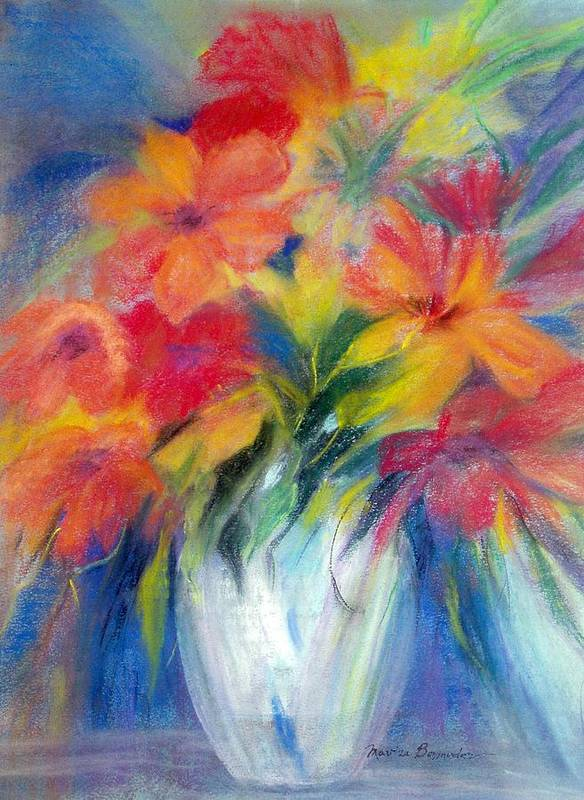 Flowers Art Print featuring the painting White Vase by Maritza Bermudez