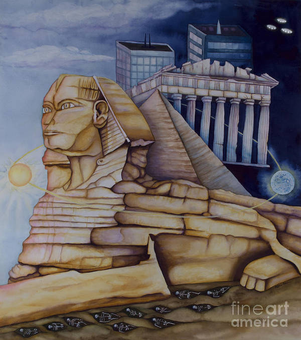 Sphinx Art Print featuring the painting The Silent Witness Of Civilizations Past And Those Yet To Be Born by Rebecca Barham