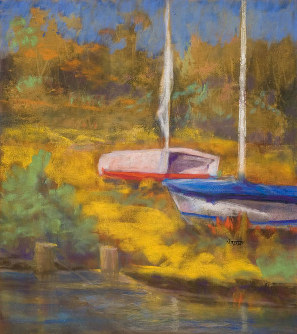 Boats Art Print featuring the painting Waiting by Jimmie Trotter