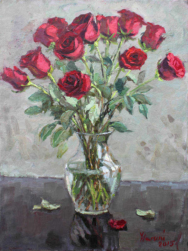 Red Roses Art Print featuring the painting Red Roses by Ylli Haruni