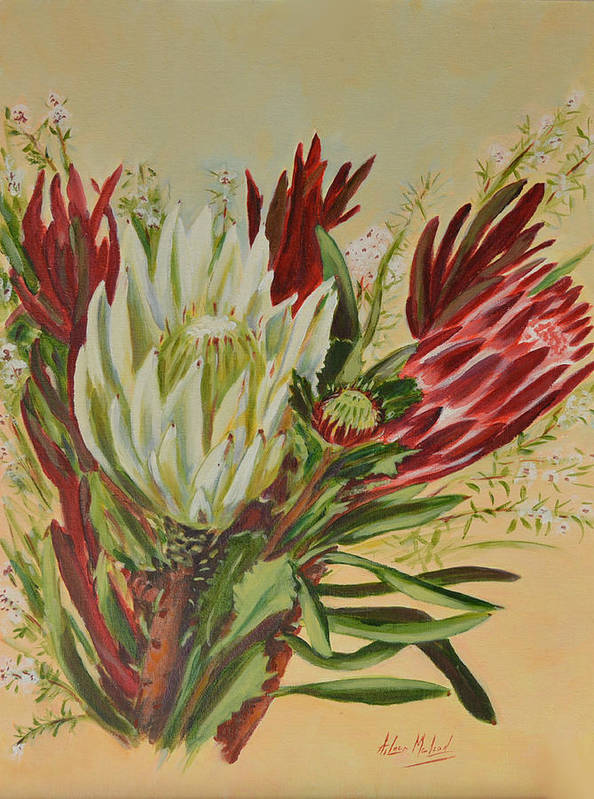 Floral Art Art Print featuring the painting Protea Bunch by Aileen McLeod