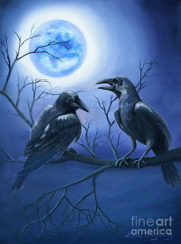 Ravens Art Print featuring the painting Raven's Moon by Lora Duguay