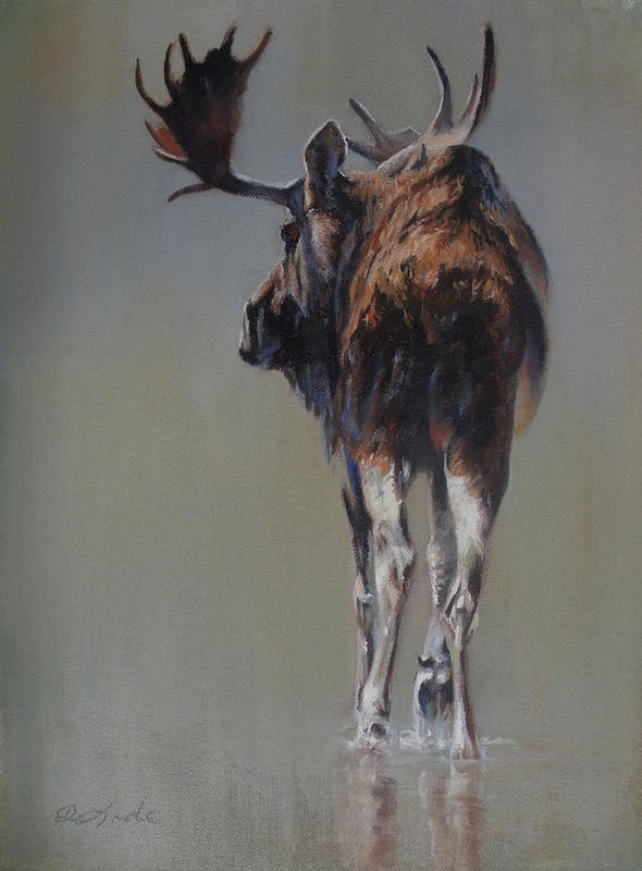 Moose Art Print featuring the painting The Bachelor by Mia DeLode