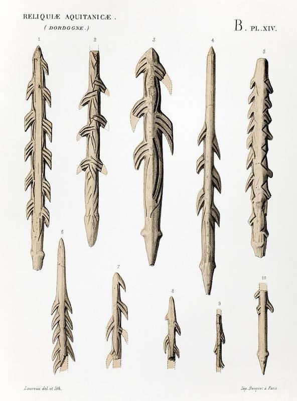 1863 Lartet Prehistoric Barbed Harpoons by Paul D Stewart