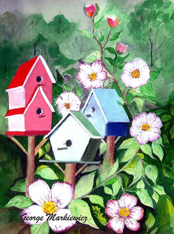 Birdhouse Art Print featuring the print Birdhouse by George Markiewicz