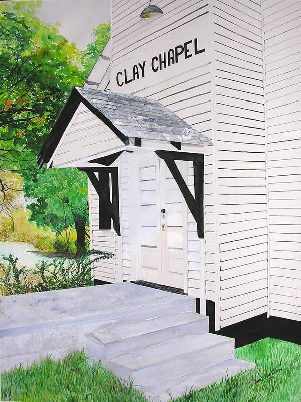 Church Art Print featuring the painting Clay Chapel by Anna Dubon