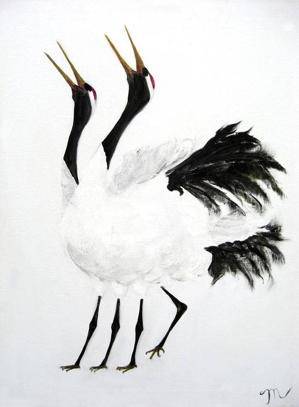 Bird Art Print featuring the painting Duet Of The Cranes by Michela Akers