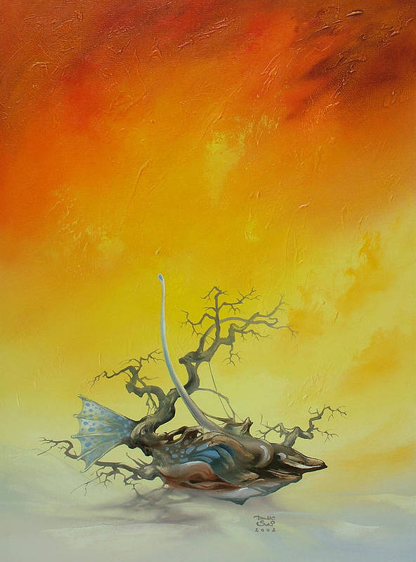 Art Print featuring the painting Fishtree 6. by Zoltan Ducsai