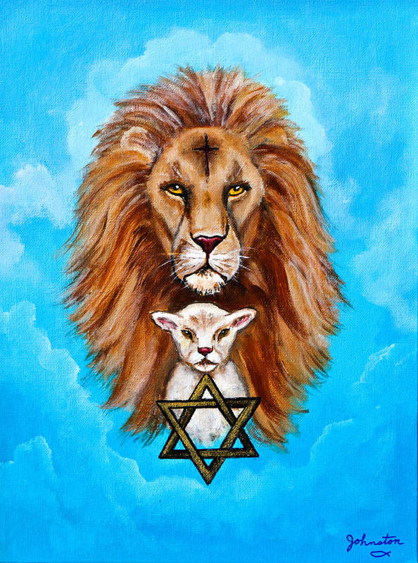 Adoni Art Print featuring the painting Lion Lies Down With A Lamb by Bob and Nadine Johnston