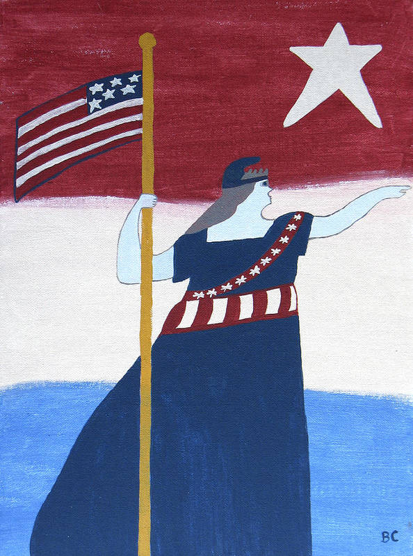 Patriotic Art Print featuring the painting Miss Liberty by Bev Colando